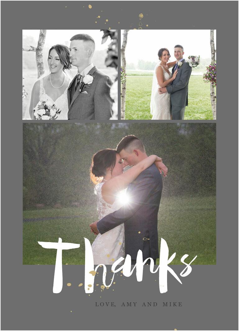 wedding thank you card rain