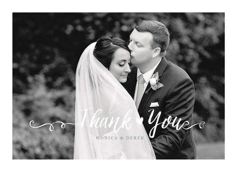 wedding thank you card black and white