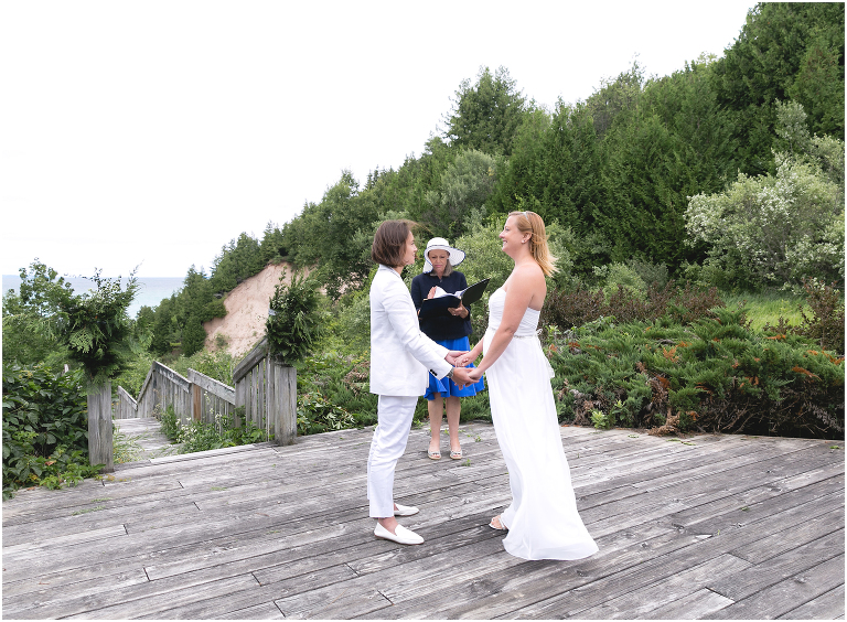 Lake Michigan wedding ceremony