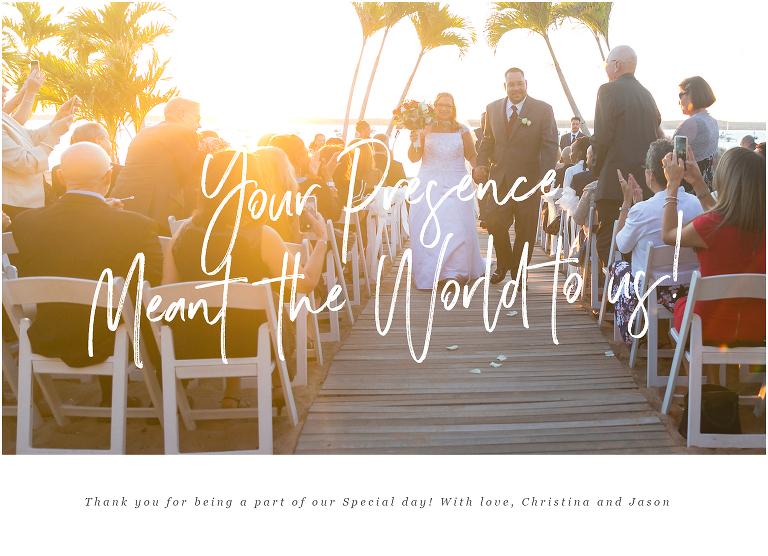 wedding thank you card beach