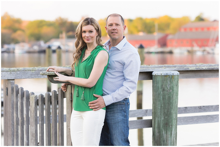 Engaged couple on the dock