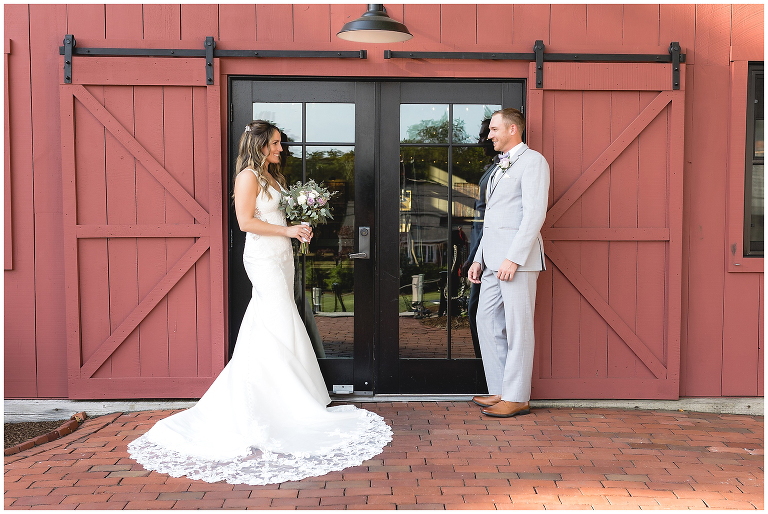 bride and groom Wight Barn