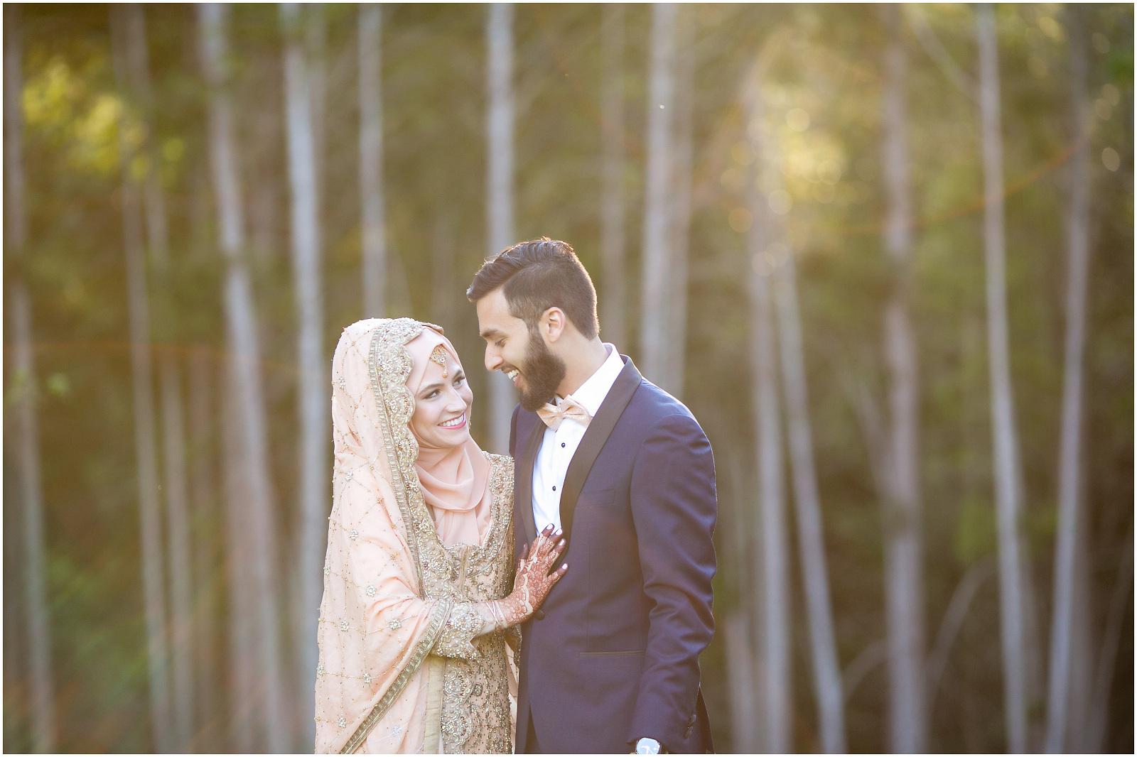 muslim bride groom woods sunset