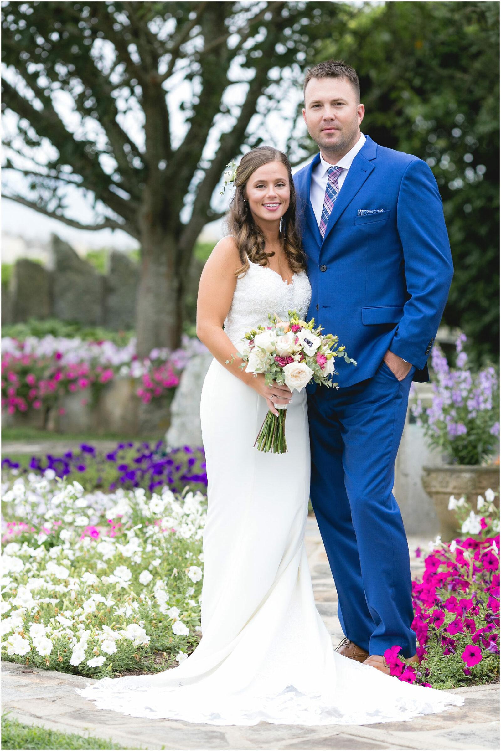 bride and groom flowers enders