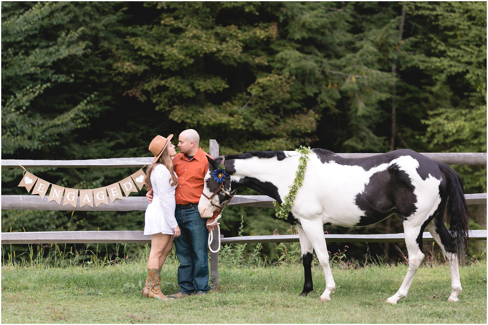 engagement session at farm horse