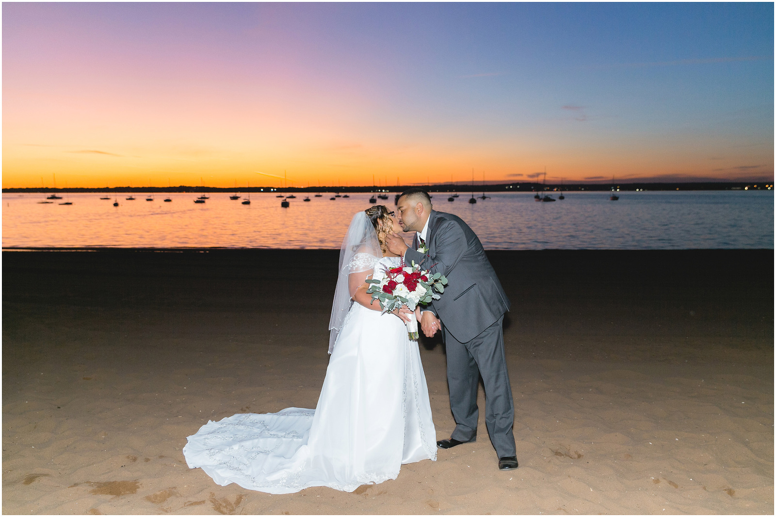 bride and groom anthony's sunset